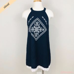 [Sweet Wanderer] Navy Embroidered Mini Dress